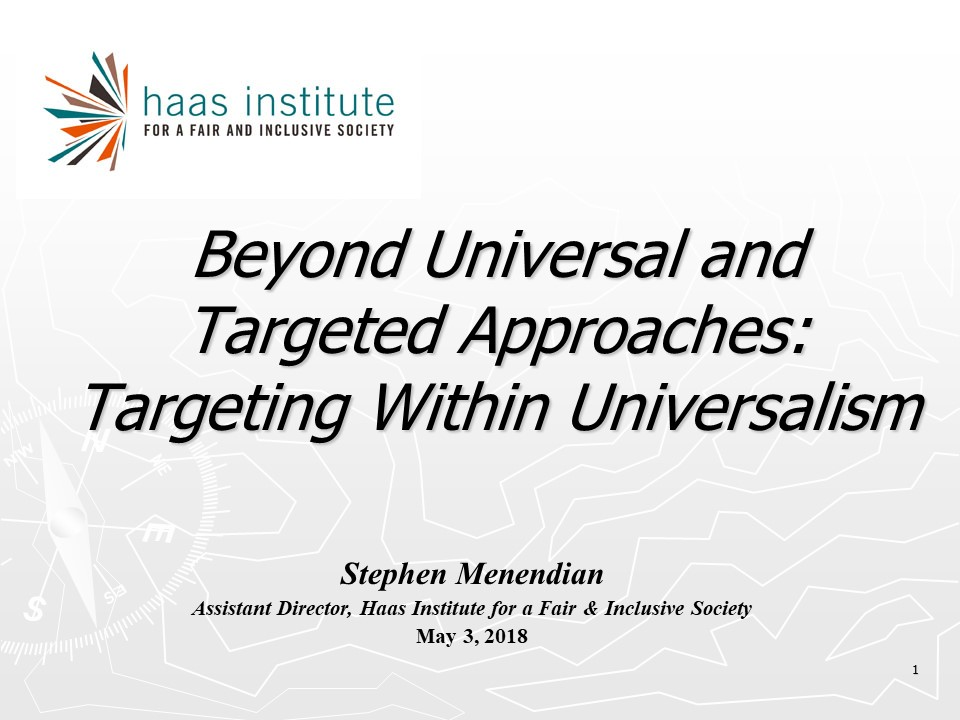 Intro slide to Targeted Universalism presentation