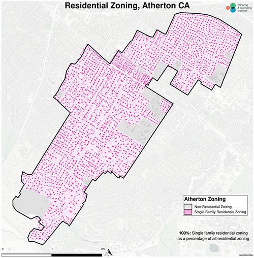 Zoning map of Atherton