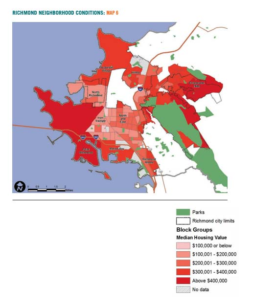 Map 6 displays Richmond neighborhood conditions based on median housing value