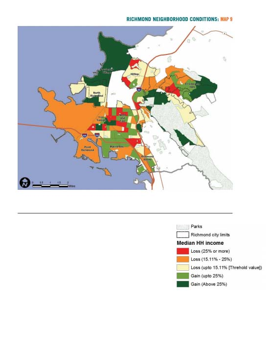 Map 9 displays Richmond neighborhood conditions based on change in median household income
