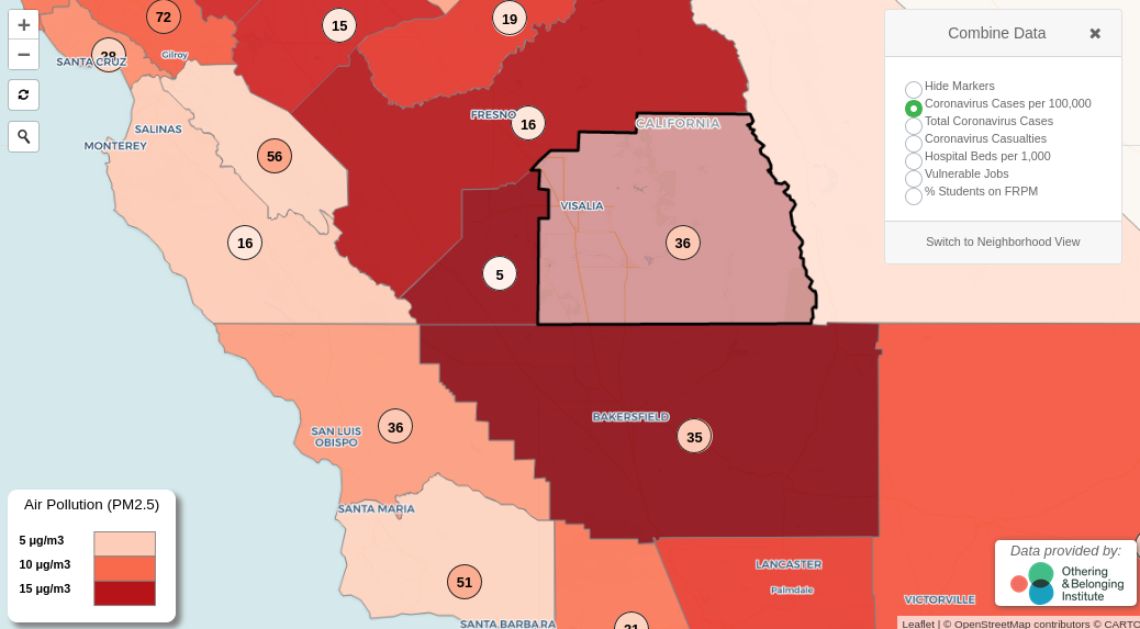 image grab from interactive map shows air pollution levels for the southern central valley