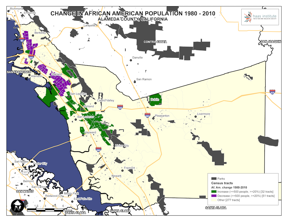 Map shows change in Alameda County Black population from 1980 to 2010
