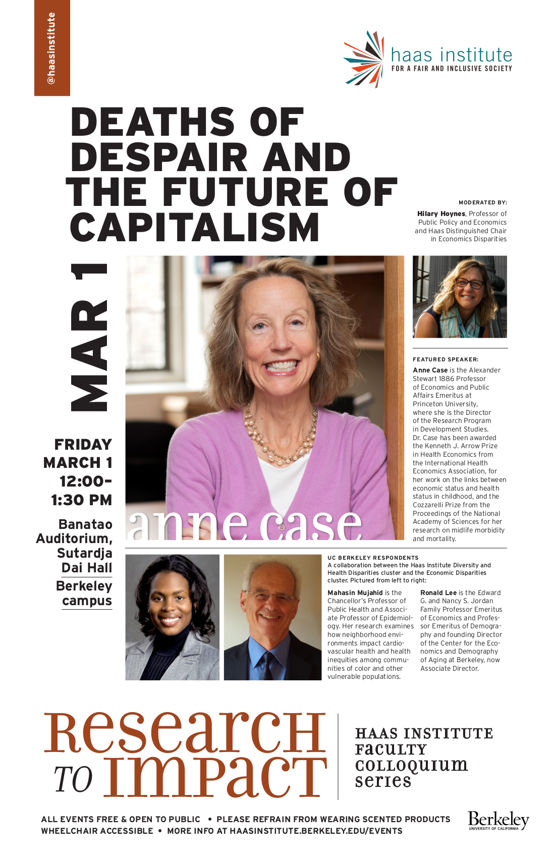 "Flier for the Anne Case talk on ""Deaths of Despair and the Future of Capitalism"""
