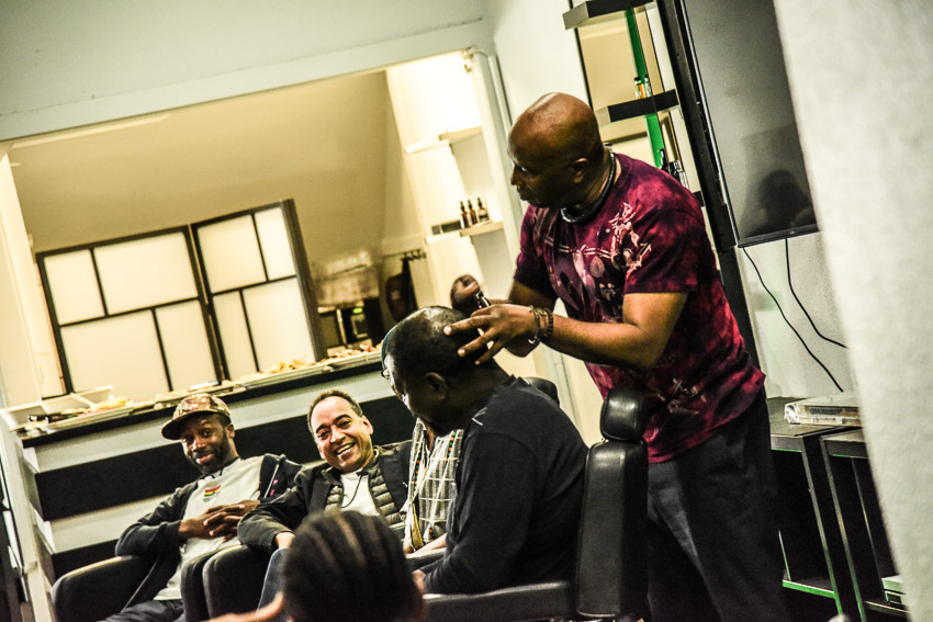 Leading up to the 2018 Barbershop Chronicles perfor- mance at UC Berkeley, a community forum was held at Benny Adem Grooming Parlor, presented by the Haas Insti- tute for a Fair and Inclusive Society, Benny Adem Grooming Parlor, Africanity Love, Priority