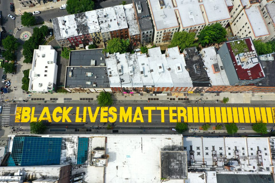 black lives painted on the street