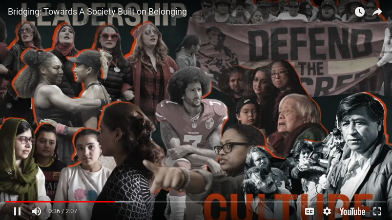 image grab from Bridging video shows social and cultural leaders displayed in a collage
