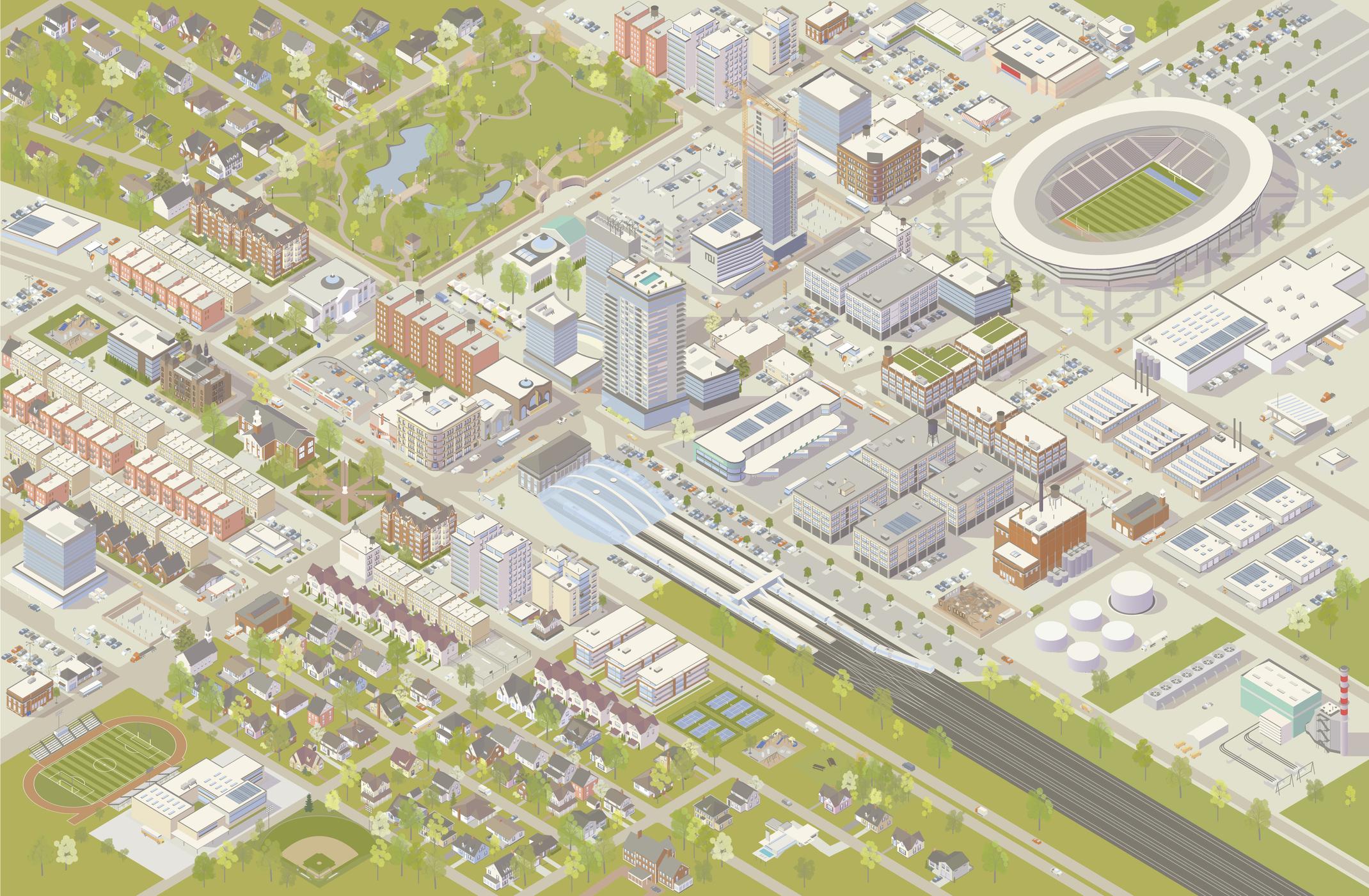 Bird's eye view illustration of a city
