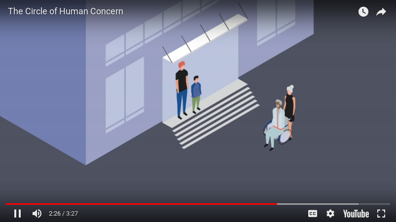 image grab from the Circle of Human Concern Video shows an animation of someone pushing someone else in a wheelchair