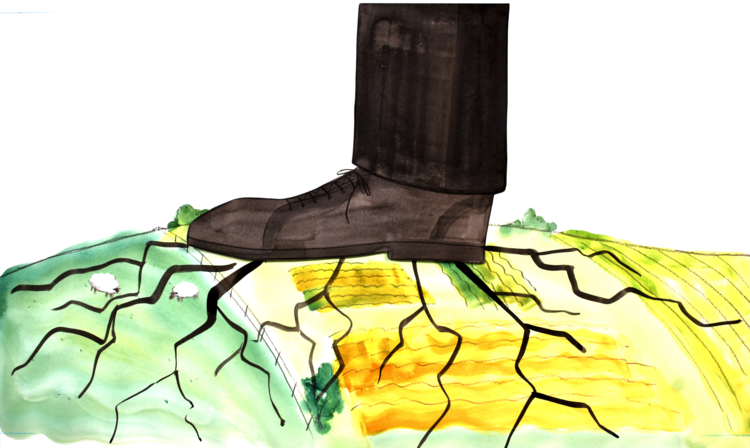 an image grab from the Shahidi project video shows a giant shoe stomping on a small farm