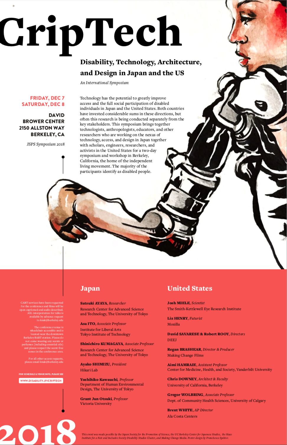 Poster shows details of the Criptech event with a photo of a woman with a robotic shoulder and arm