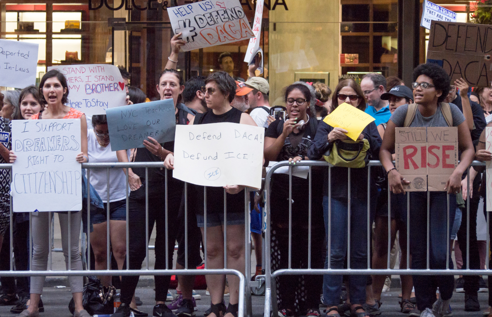 PROTESTERS outside the Trump tower in New York