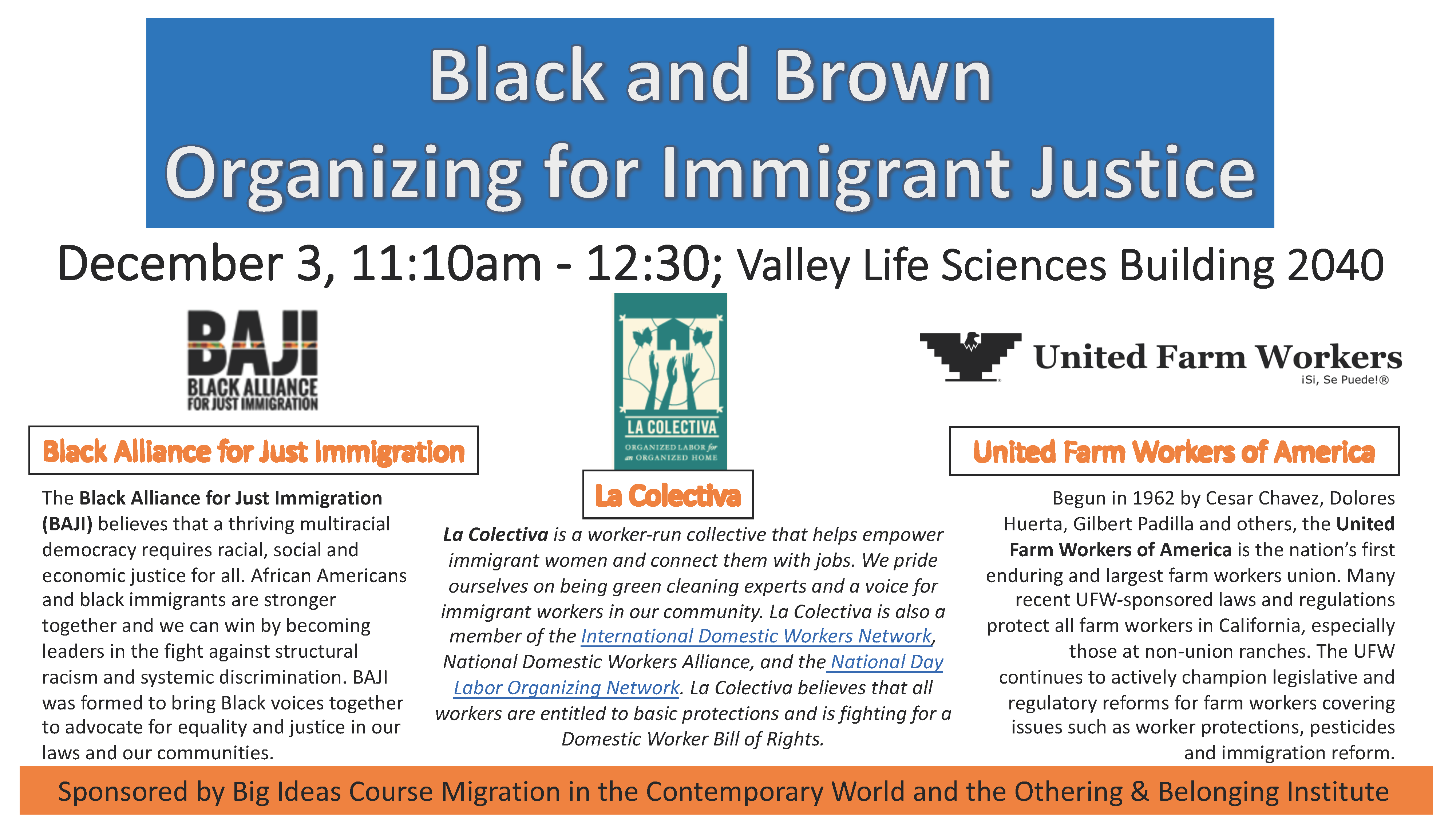 Flier for the Black and Brown Organizing for Immigrant Justice event