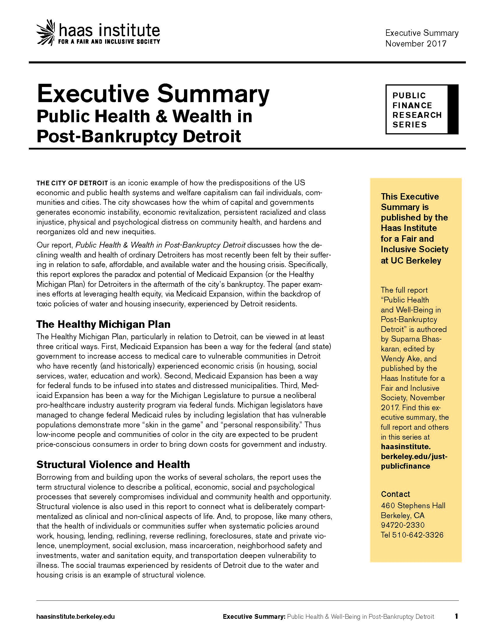 This An Executive Summary Of The Report U201cPublic Health And Well Being In  Post Bankruptcy Detroit,u201d Authored By Suparna Bhaskaran, Edited By Wendy  Ake, ...  An Executive Summary