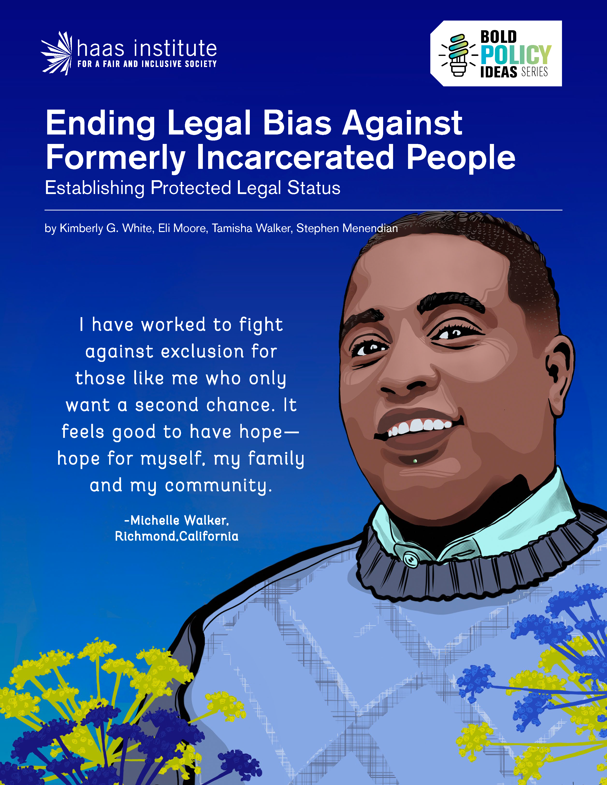 Ending Legal Bias Against Formerly Incarcerated People cover image shows an illustration of a young black man smiling