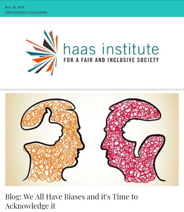 An image grab from an enews issue from November 28 shows the Haas Institute logo at the top with an illustration of two heads, one colors orange and the other red, staring at each other