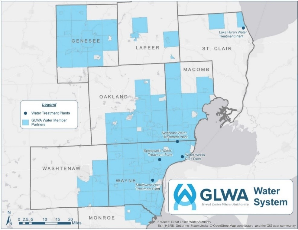 Map shows GLWA Water Service Area