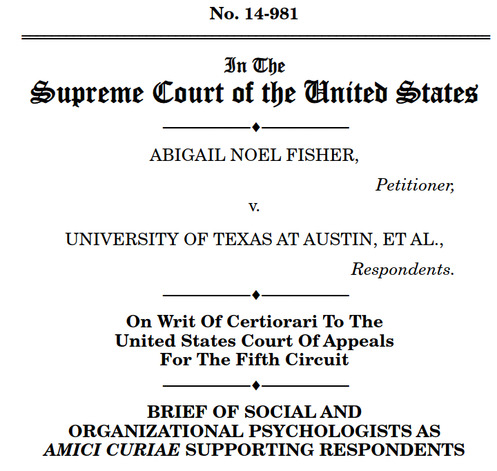 cover of the Fisher v UT amicus brief