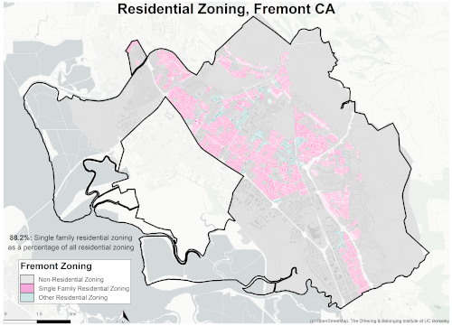 Zoning map of Fremont