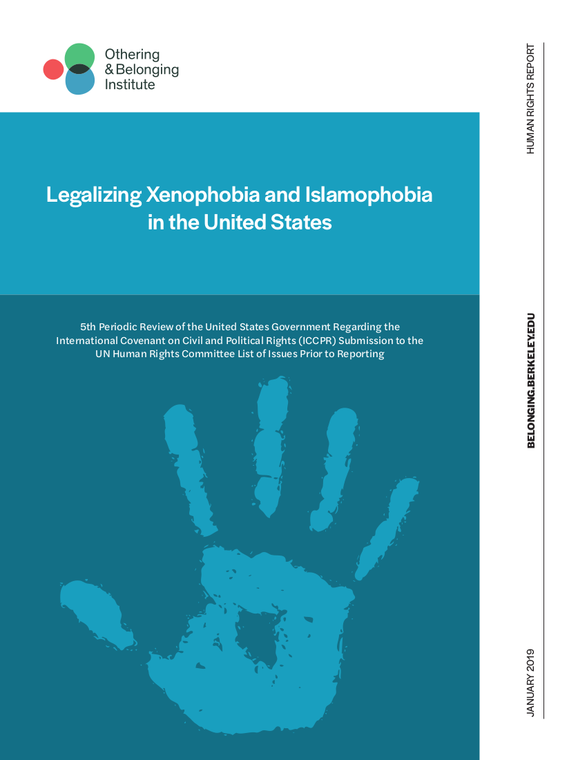 Legalizing Xenophobia and Islamophobia in the United States report cover