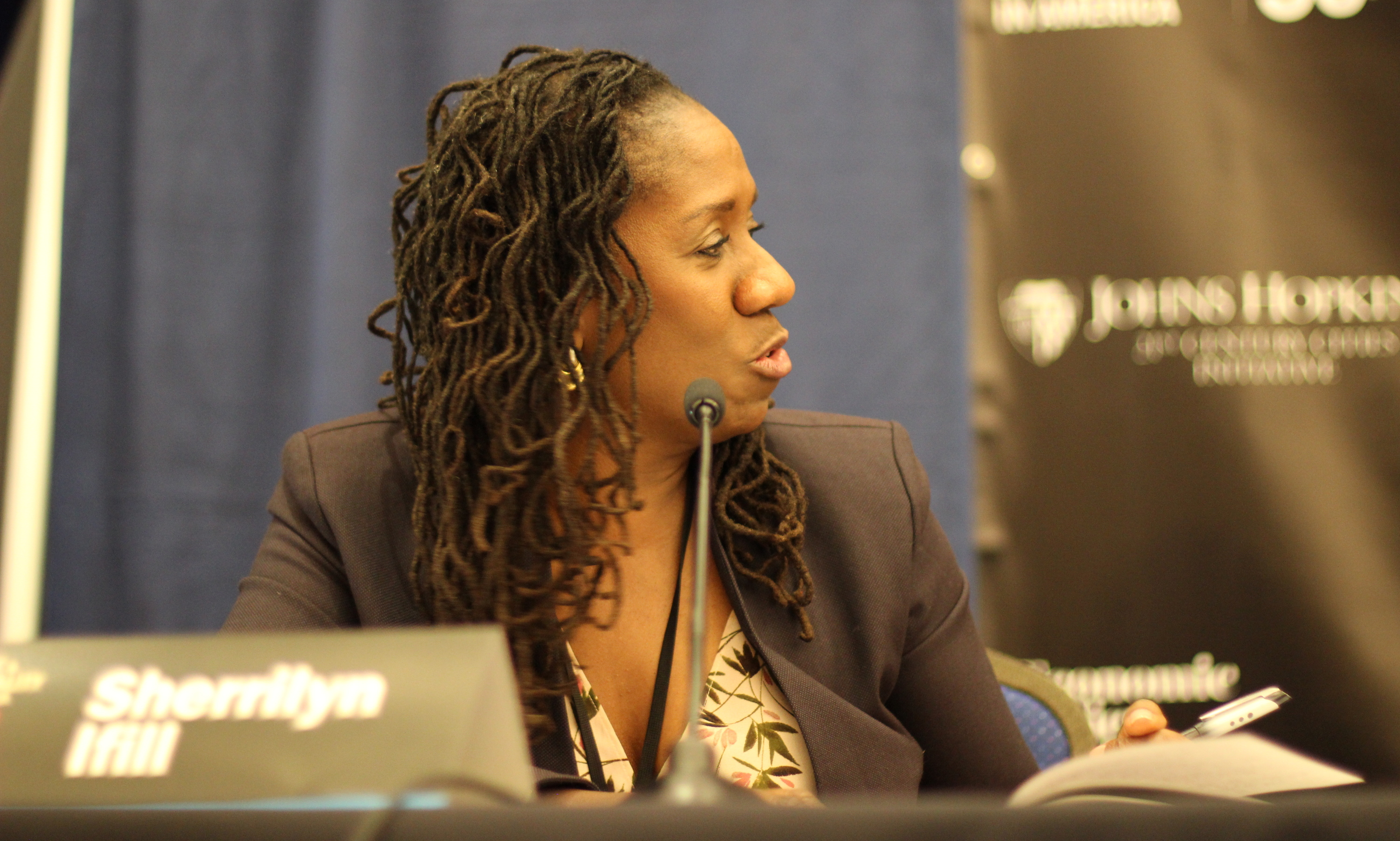 Sherrilyn Ifill gestures during the remedies panel