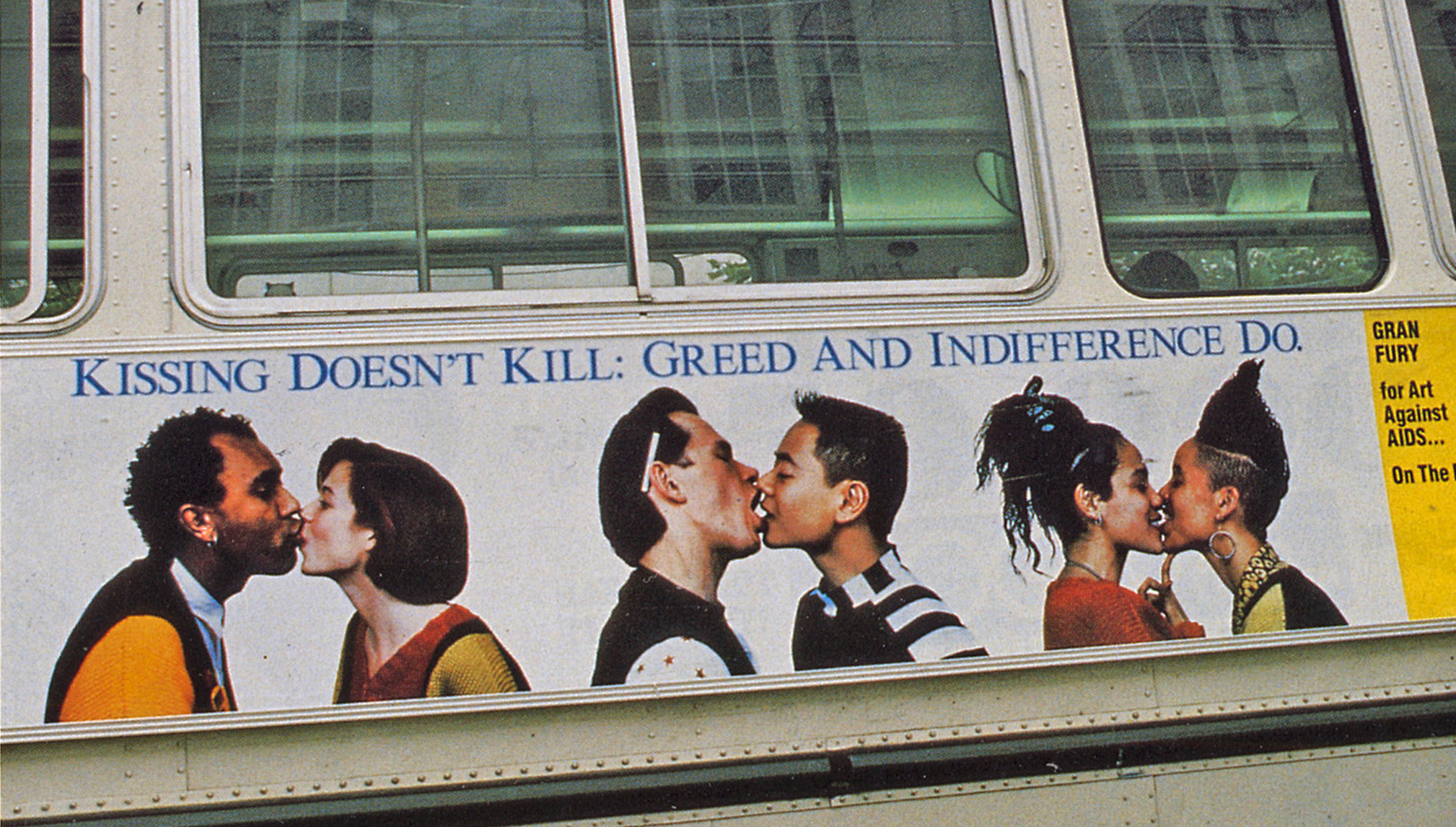 Gran Fury, Kissing Doesn't Kill, Greed and Indifference Do (Muni Bus installation), ink on vinyl, 1990