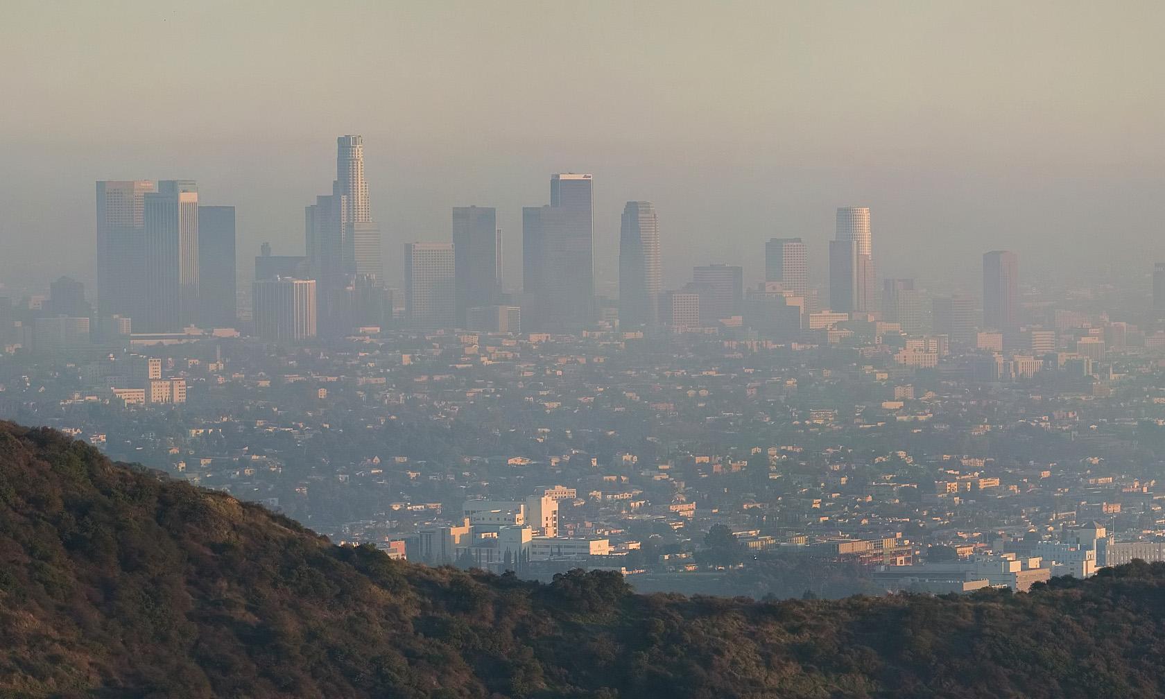 A shot of Los Angeles through thick smog