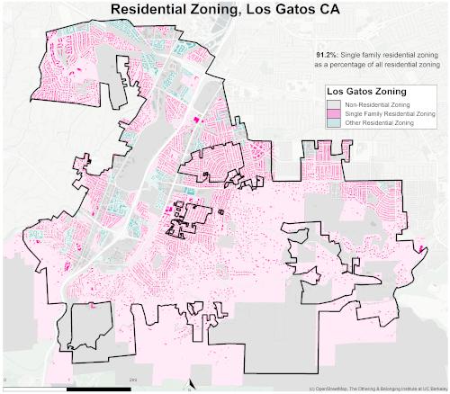 Zoning map of Los Gatos