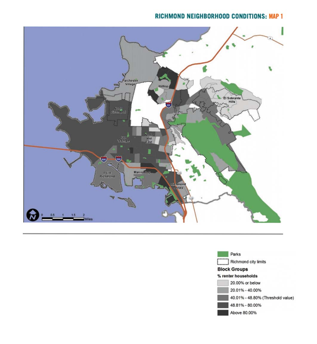 Map 1 displays Richmond neighborhood conditions based on renter households