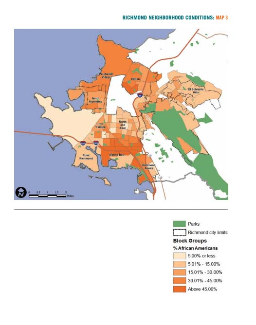 Map 3 displays Richmond neighborhood conditions based on African American population