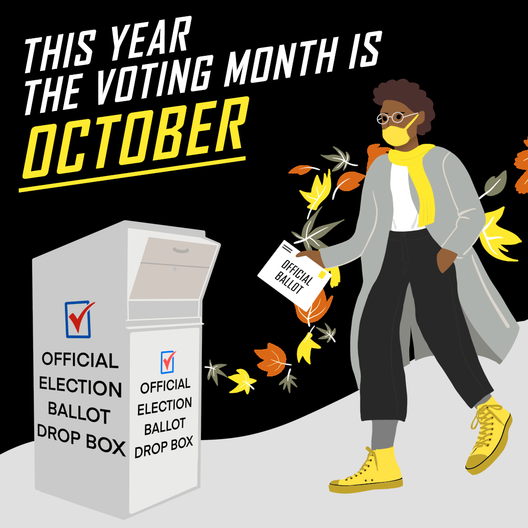 cartoon dropping off her ballot at a USPS mail box