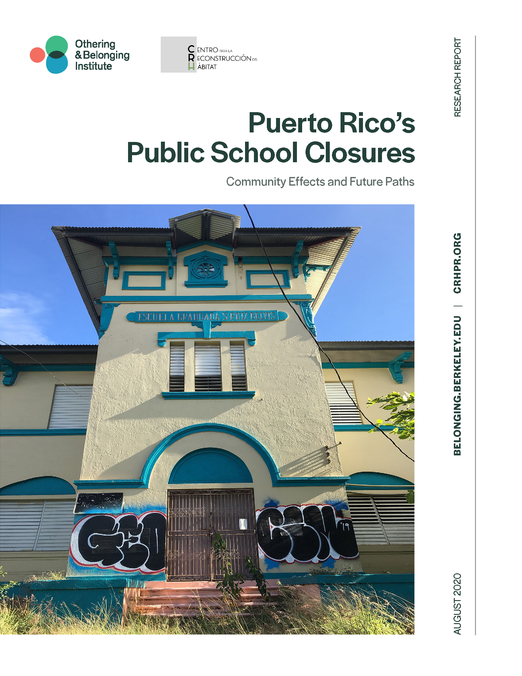 Cover of Puerto Rico report showing abandoned school
