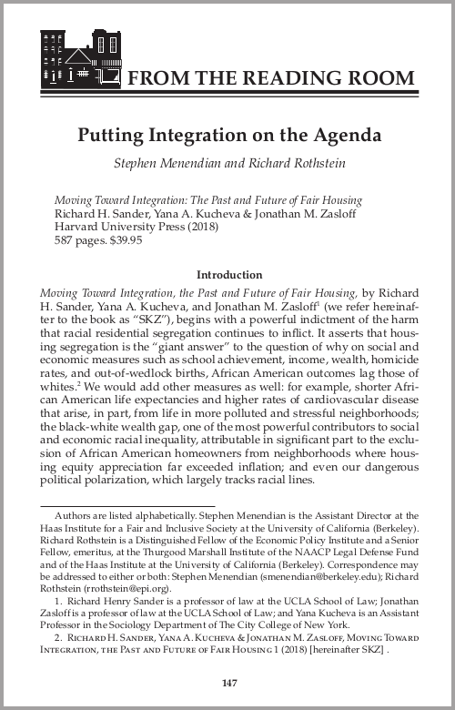 Cover image of the Putting Integration on the Agenda article
