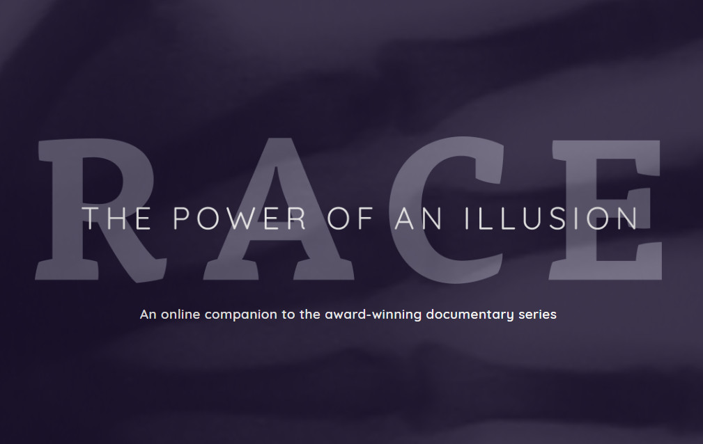 An image grab of the Race: power of an illusion homepage website