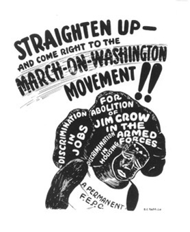 "B.E. Parrish, ""Straighten Up - And Come Right Down to the March on Washington Movement,"" 1941, poster, A. Philip Randolph Institute."