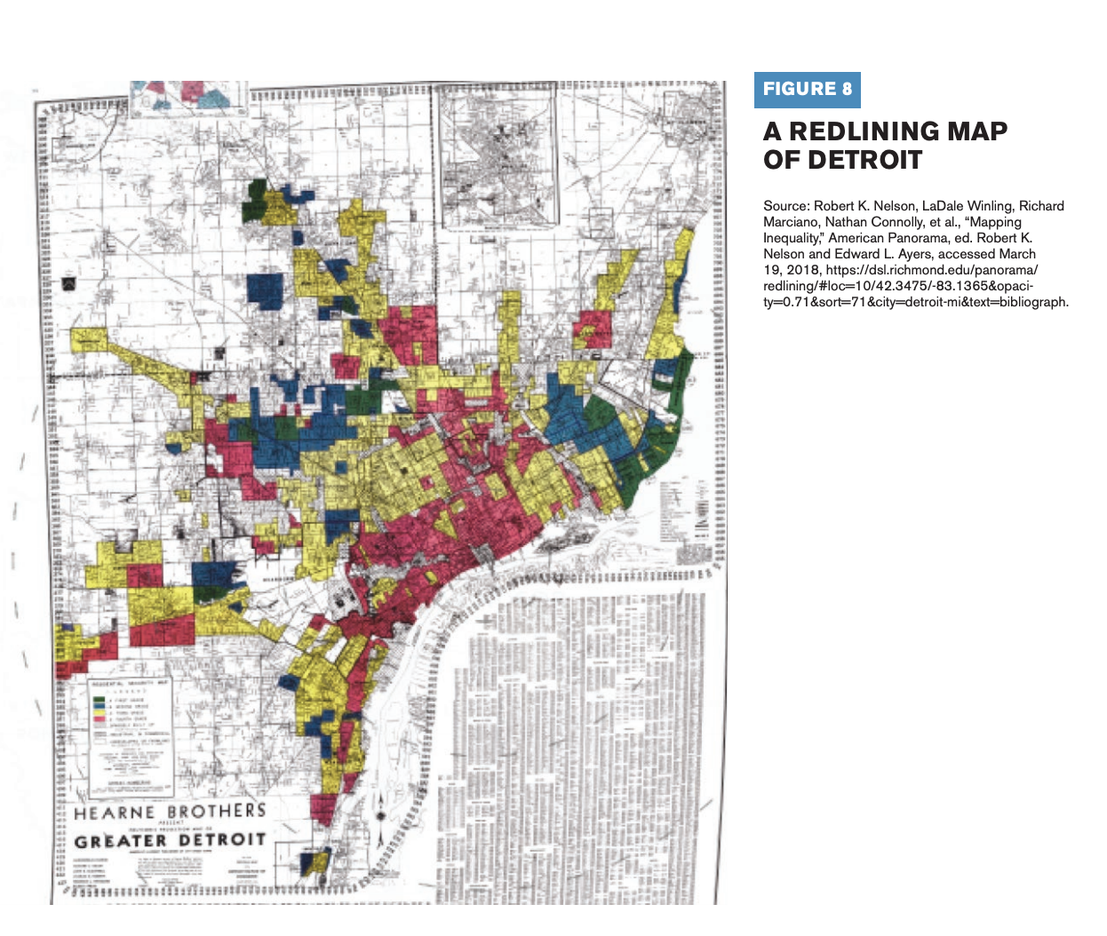 This image is a redlining map of Detroit.