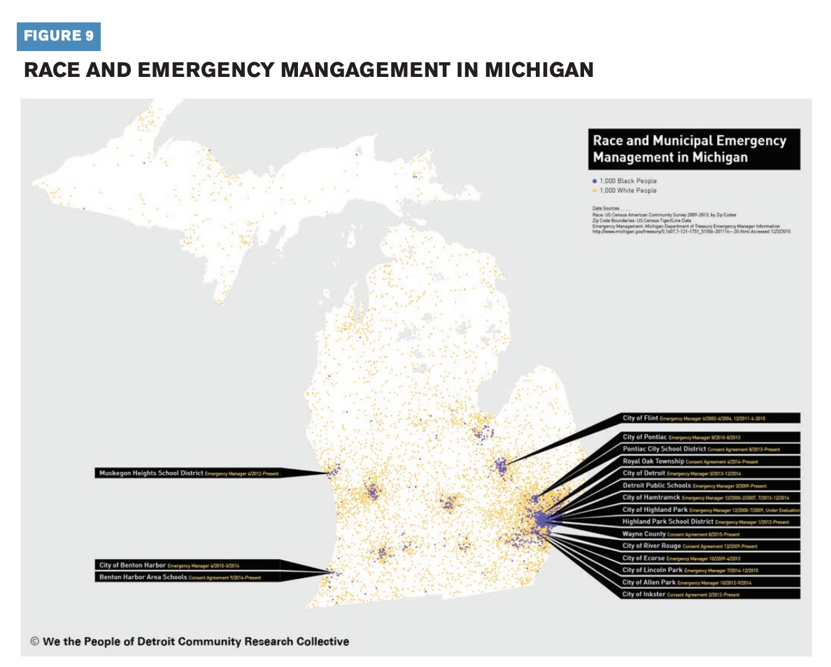 This infographic displays the race and emergency management in Michigan.