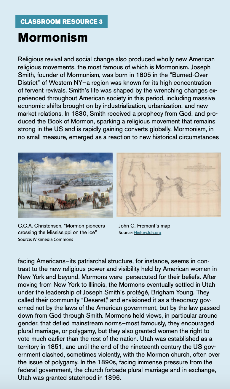 "Classroom resource 3, titled ""Mormonism,"" includes an image of mormon pioneers crossing the Mississippi on the ice and John C. Fremont's map."