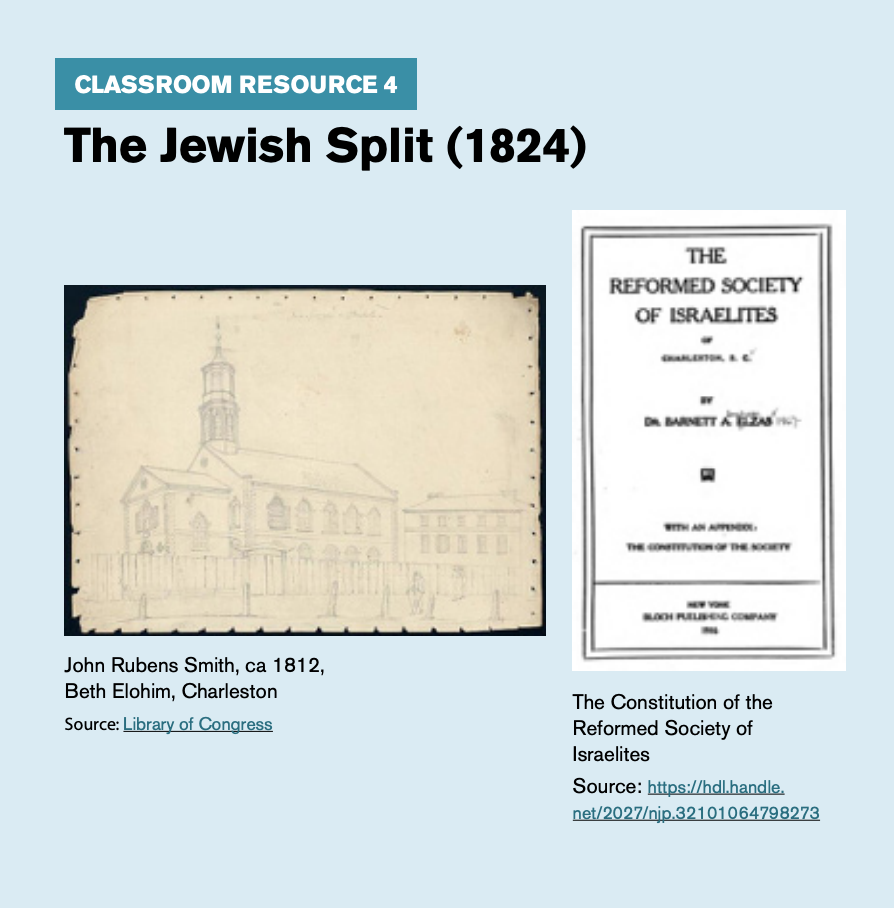 "Classroom resource 4, titled ""The Jewish Split (1824),"" includes an image of John Rubens Smith and the Constitution of the Reformed Society of Israelites."