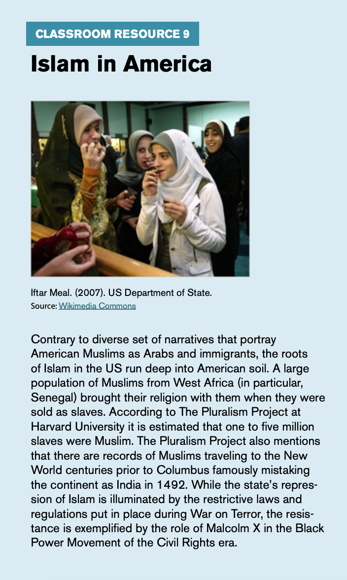 "Classroom resource 9, titled ""Islam in American,"" includes an image titled ""Iftar Meal"" taken at the US Department of State."