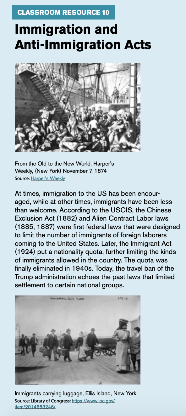 """Classroom resource 10, titled """"Immigration and Anti-Immigration Acts,"""" includes an image of people getting onto a ship titled """"From the Old to the New World."""""""