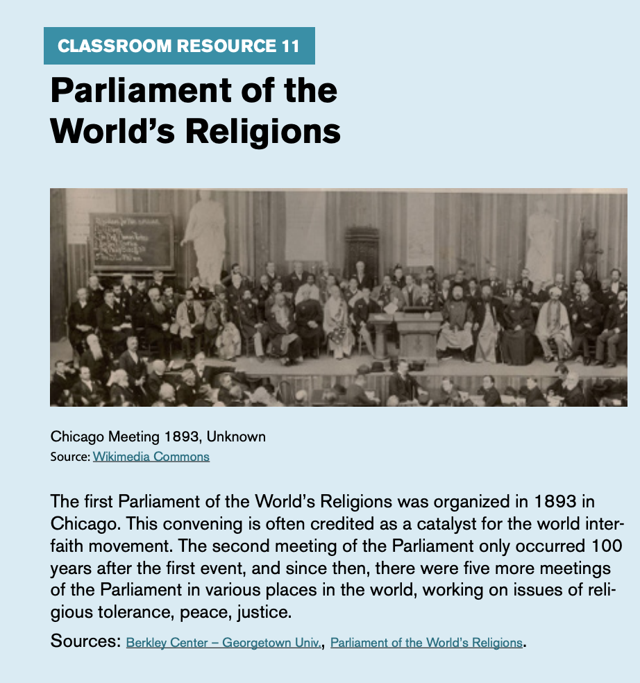 "Classroom resource 11, titled ""Parliament of the World's Religions,"" includes an image of a Chicago Meeting from 1893."