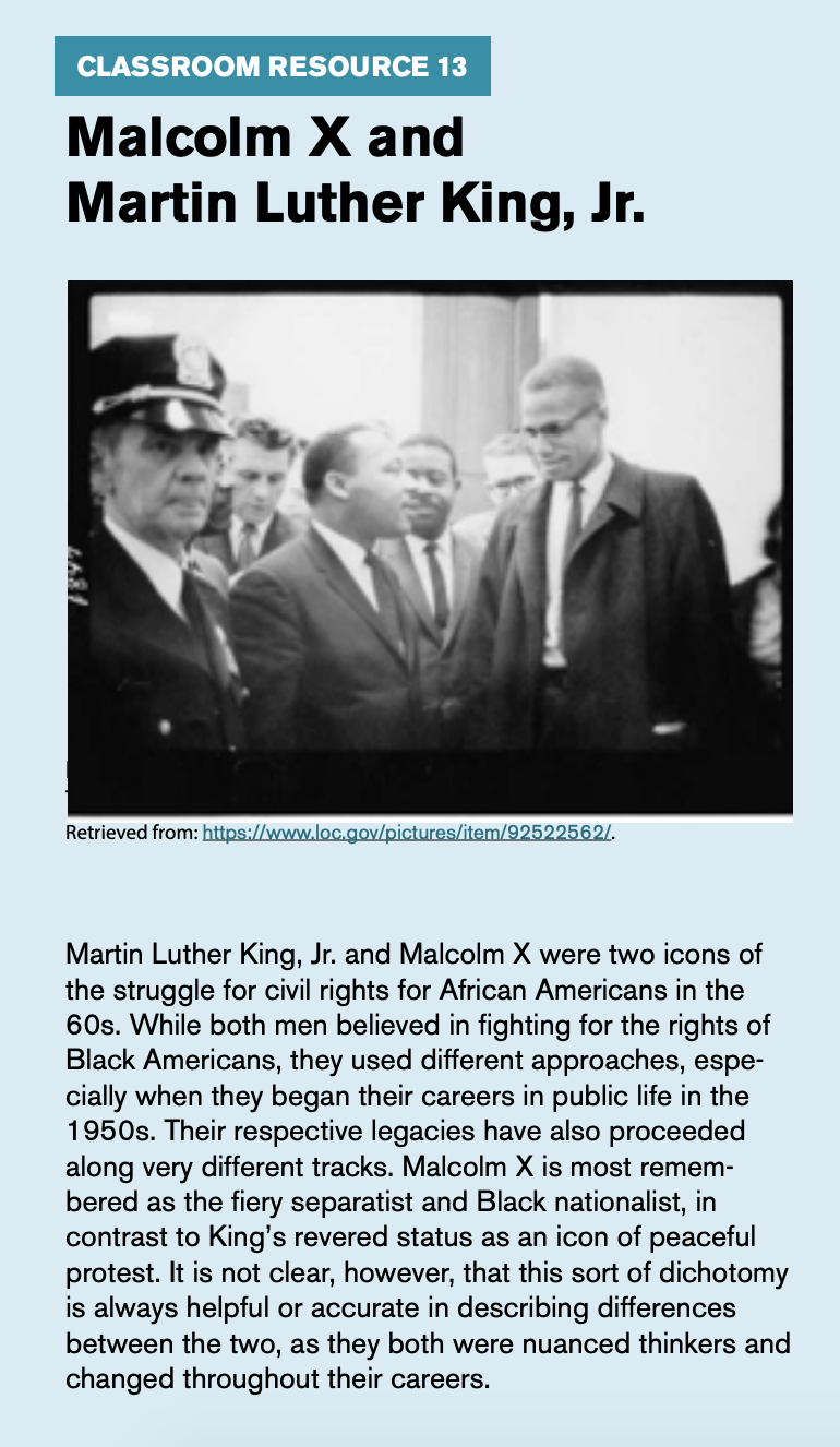 "Classroom Resource 19, titled ""Malcolm X and Martin Luther King, Jr."" includes a picture of Malcolm X and Martin Luther King Jr."""