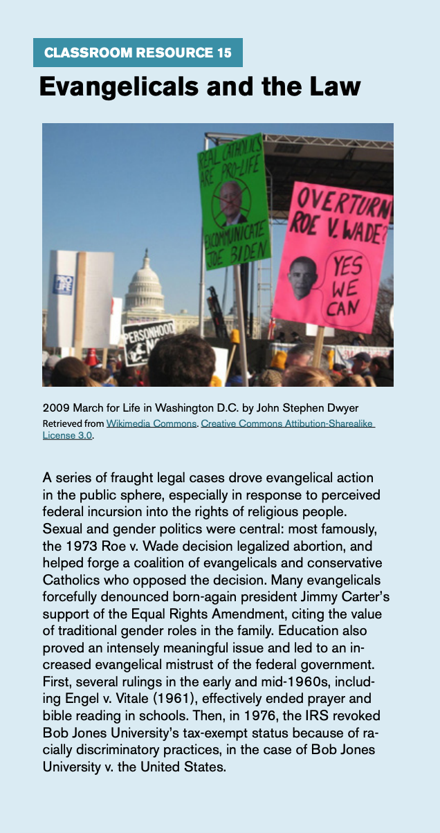 "Classroom resource 15, titled ""Evangelicals and the Law,"" includes a picture of the 2009 march for life in Washington D.C. by John Stephen Dwyer."
