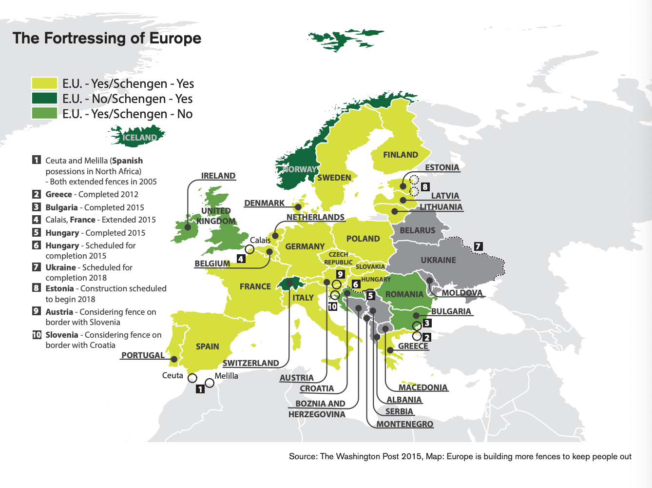 This infographic includes a map that showcases the fortressing of Europe