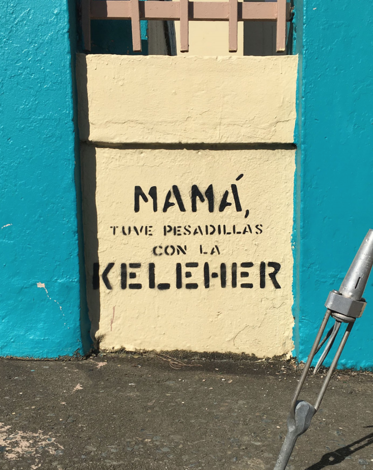 """This image includes Graffiti at the Emilio Castelar school at San Juan. Translates into, """"Mom, I had nightmares about Julia Keleher."""""""