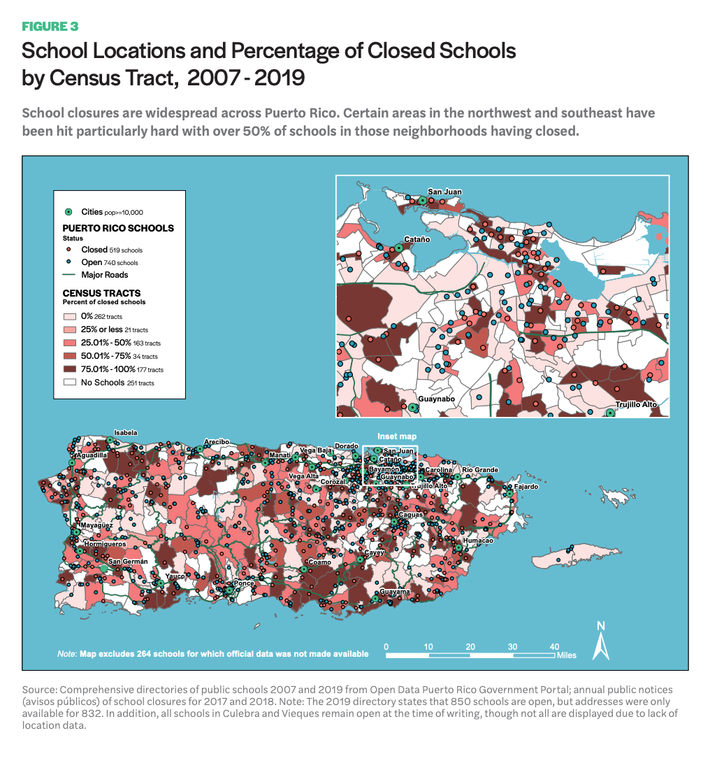 This infographic includes a map showcasing School Locations and Percentage of Closed Schools by Census Tract, 2007 - 2019