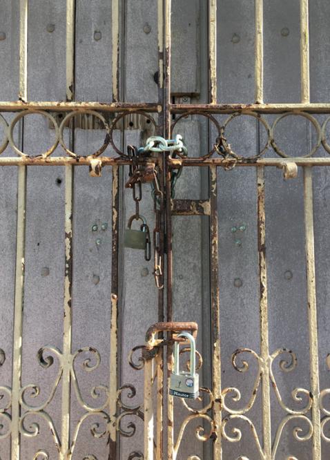 The locked entrance to Segundo Ruíz Belvis school in San Juan.