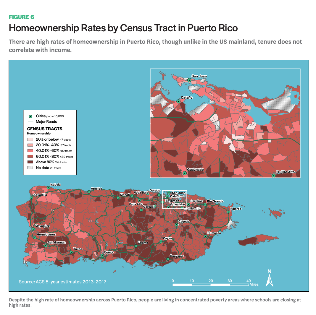 Figure 6 includes a map of Homeownership Rates by Census Tract in Puerto Rico