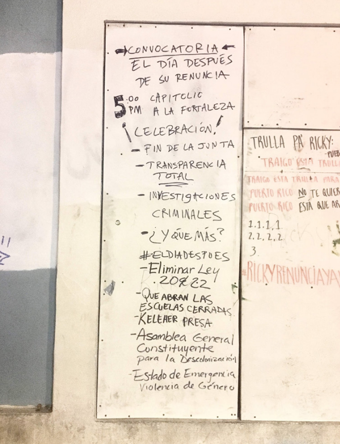 """Among the summer 2019 graffiti is a list of demands for """"the day after"""" the governor resigned: """"Reopen abandoned schools"""" and """"Lock up Keleher."""""""