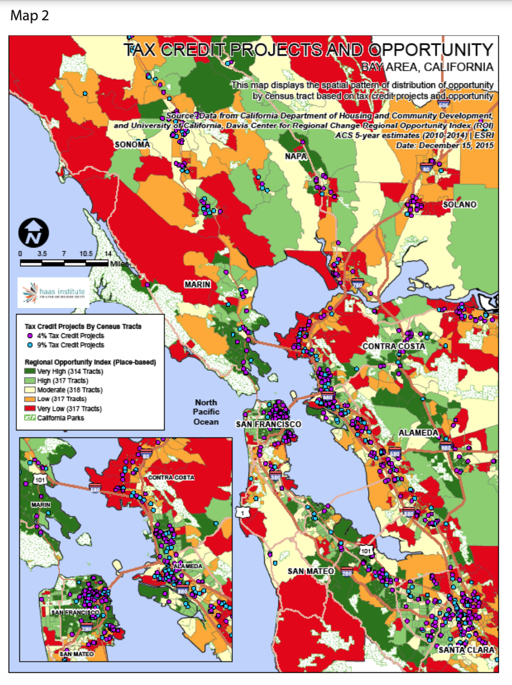 Map 2 displays the spatial pattern of distribution of opportunity by census tract based on tax credit projects and opportunity.